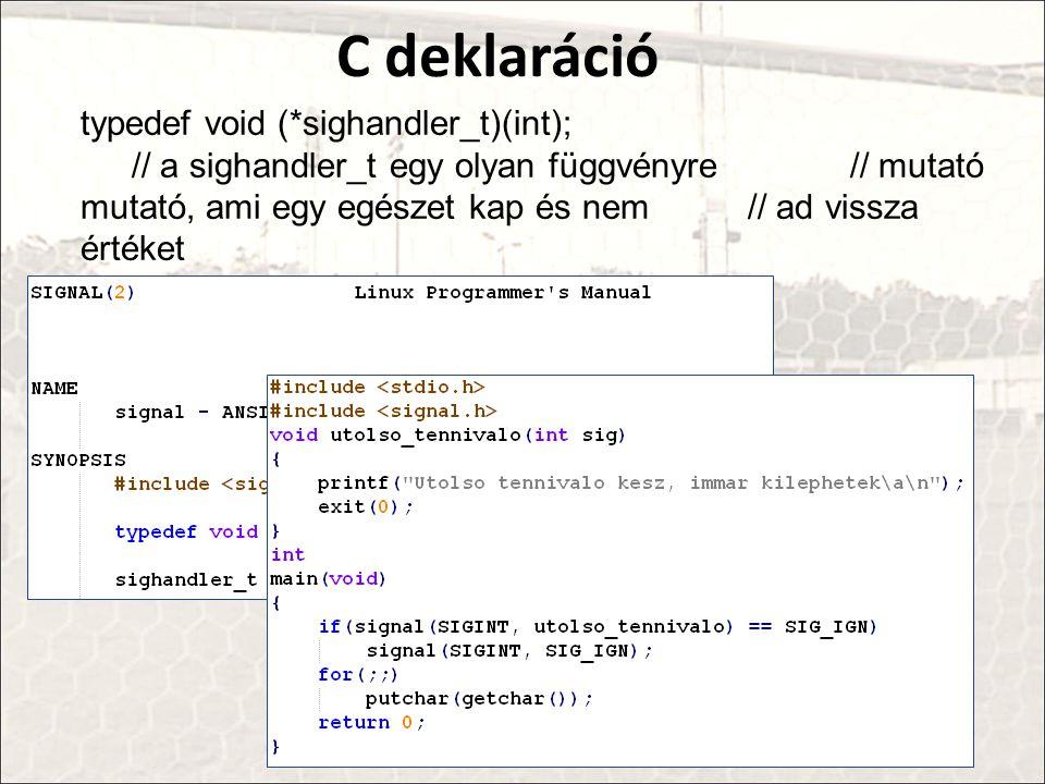 C deklaráció typedef void (*sighandler_t)(int);
