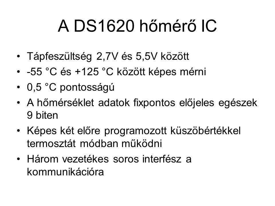 A DS1620 hőmérő IC Tápfeszültség 2,7V és 5,5V között