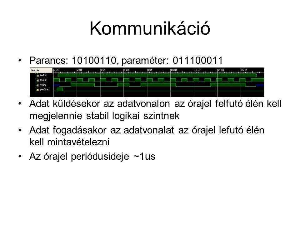 Kommunikáció Parancs: 10100110, paraméter: 011100011