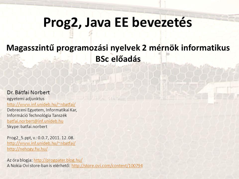 Magasszintű programozási nyelvek 2 mérnök informatikus BSc előadás