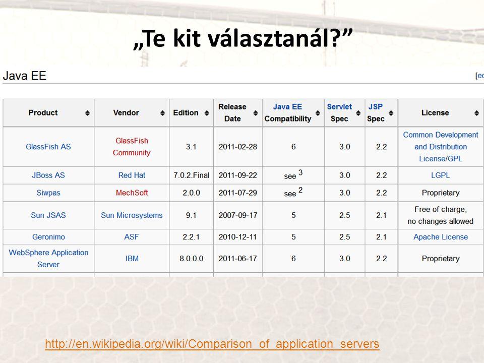 """Te kit választanál http://en.wikipedia.org/wiki/Comparison_of_application_servers"