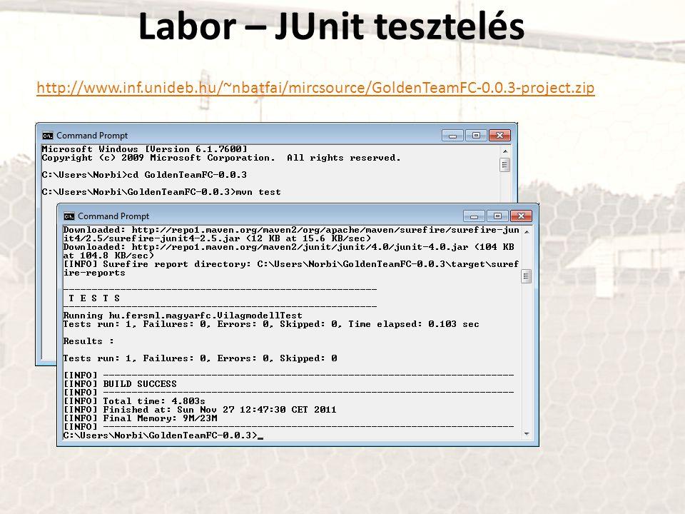 Labor – JUnit tesztelés
