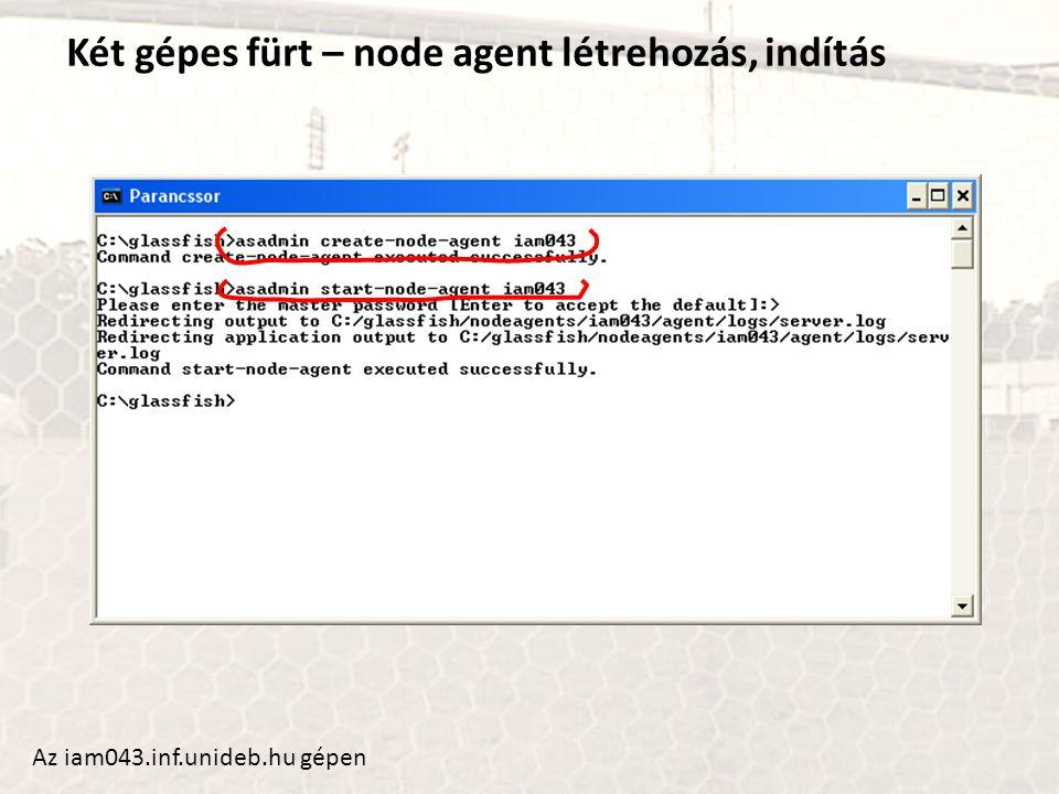 Két gépes fürt – node agent létrehozás, indítás