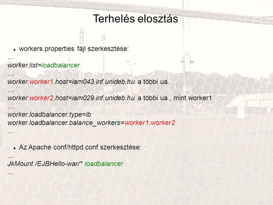 Terhelés elosztás workers.properties fájl szerkesztése: …