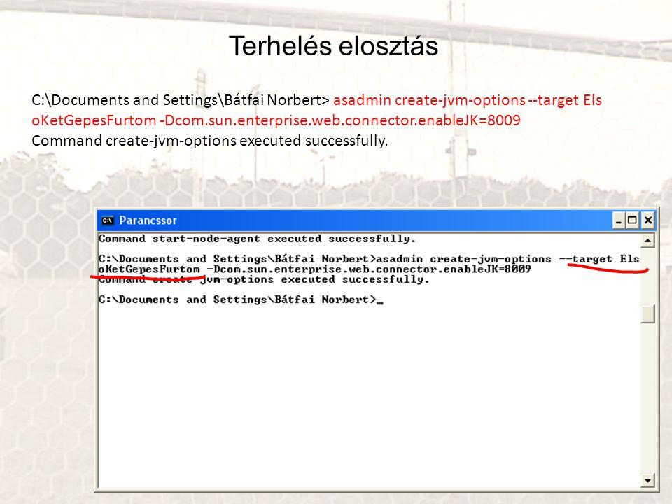 Terhelés elosztás C:\Documents and Settings\Bátfai Norbert> asadmin create-jvm-options --target Els.