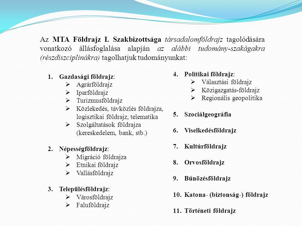 Az MTA Földrajz I. Szakbizottsága társadalomföldrajz tagolódására vonatkozó állásfoglalása alapján az alábbi tudomány-szakágakra (részdiszciplinákra) tagolhatjuk tudományunkat:
