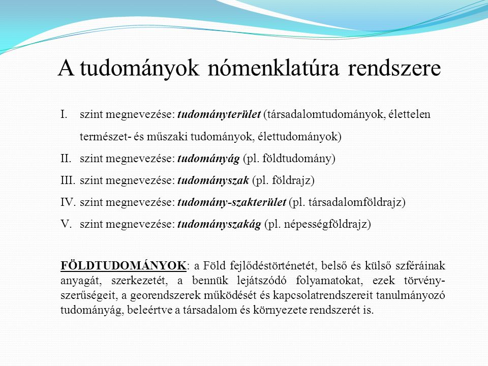 A tudományok nómenklatúra rendszere