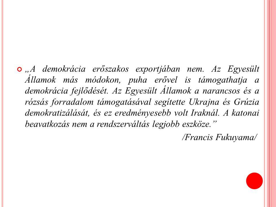 """""""A demokrácia erőszakos exportjában nem"""