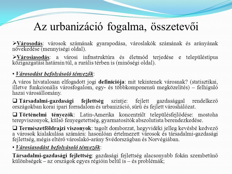 Az urbanizáció fogalma, összetevői