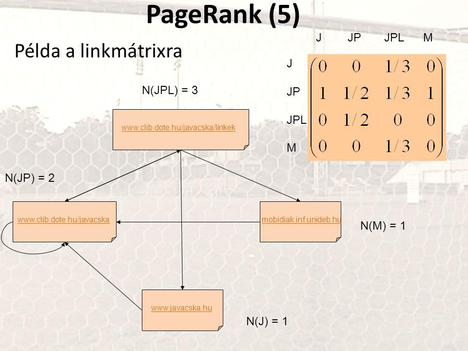 PageRank (5) Példa a linkmátrixra J JP JPL M J JP N(JPL) = 3 JPL M