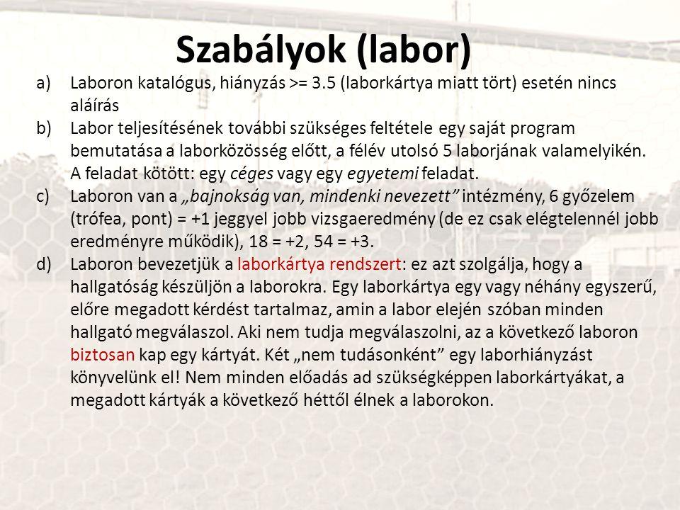 Szabályok (labor) Laboron katalógus, hiányzás >= 3.5 (laborkártya miatt tört) esetén nincs aláírás.