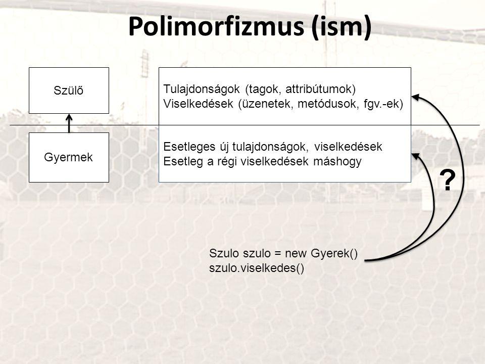 Polimorfizmus (ism) Szülő Tulajdonságok (tagok, attribútumok)
