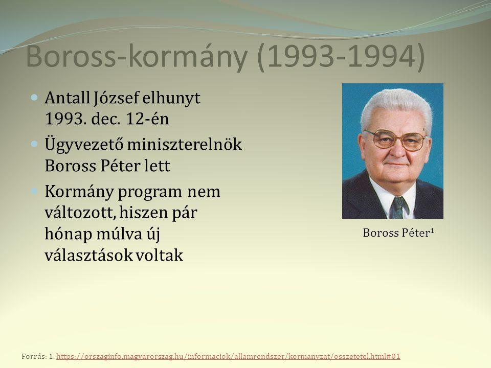Boross-kormány (1993-1994) Antall József elhunyt 1993. dec. 12-én