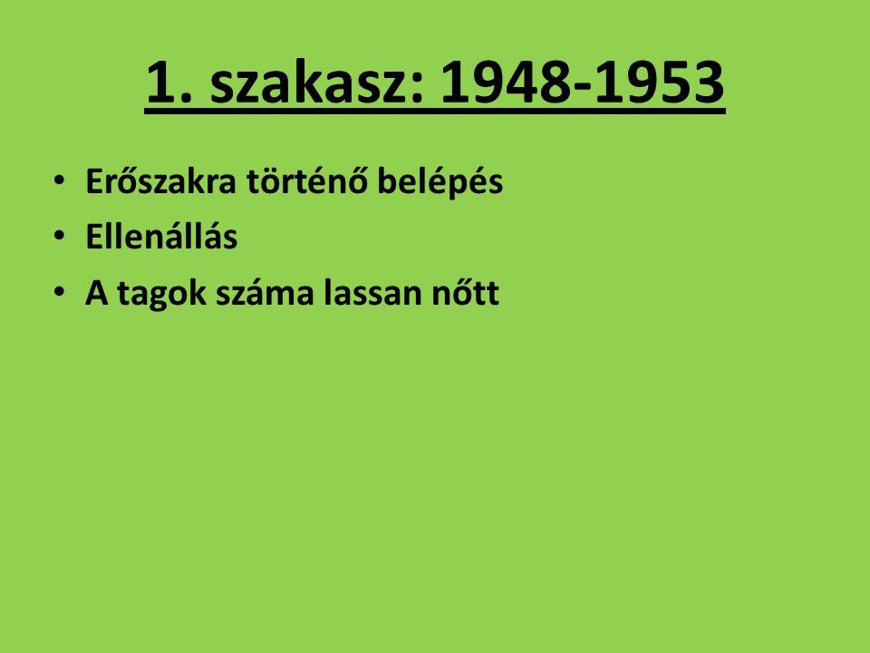 1. szakasz: 1948-1953 Erőszakra történő belépés Ellenállás