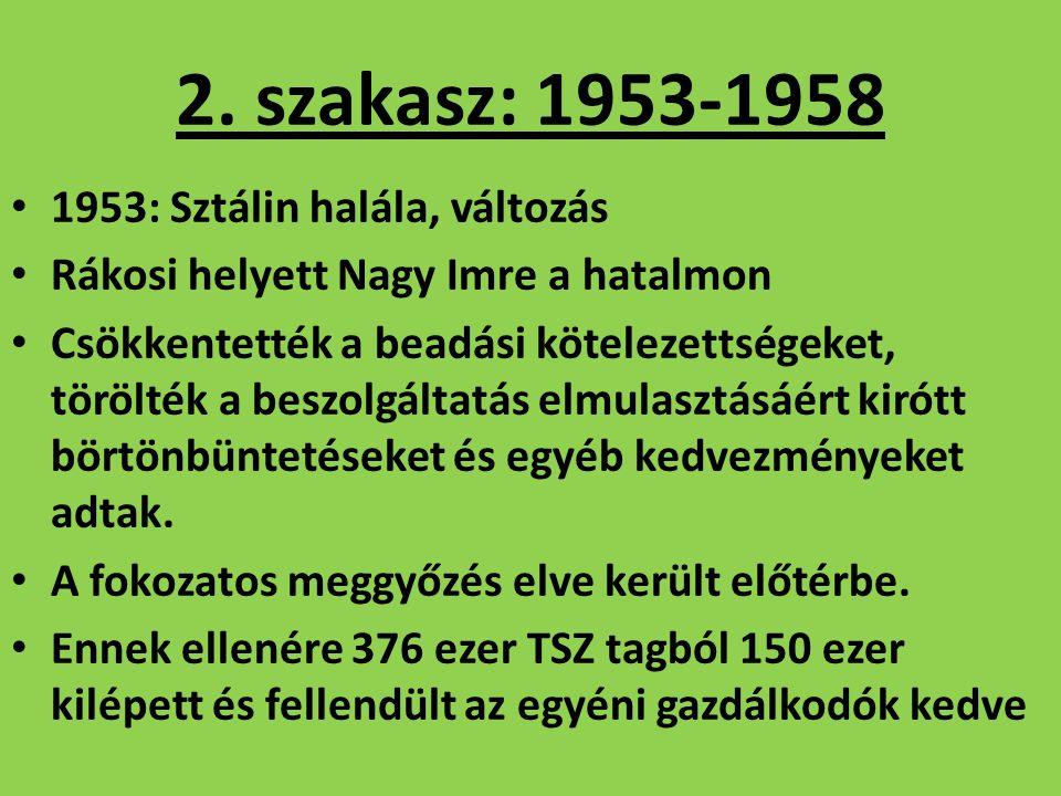 2. szakasz: 1953-1958 1953: Sztálin halála, változás