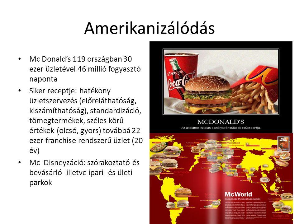 Amerikanizálódás Mc Donald's 119 országban 30 ezer üzletével 46 millió fogyasztó naponta.