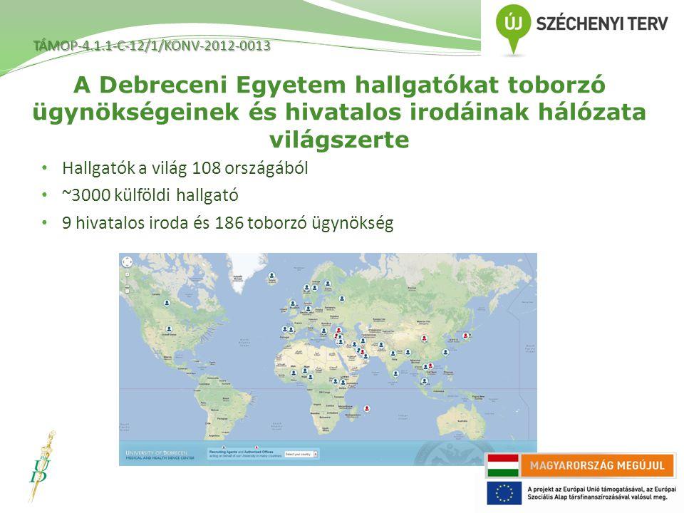 TÁMOP-4.1.1-C-12/1/KONV-2012-0013 A Debreceni Egyetem hallgatókat toborzó ügynökségeinek és hivatalos irodáinak hálózata világszerte.