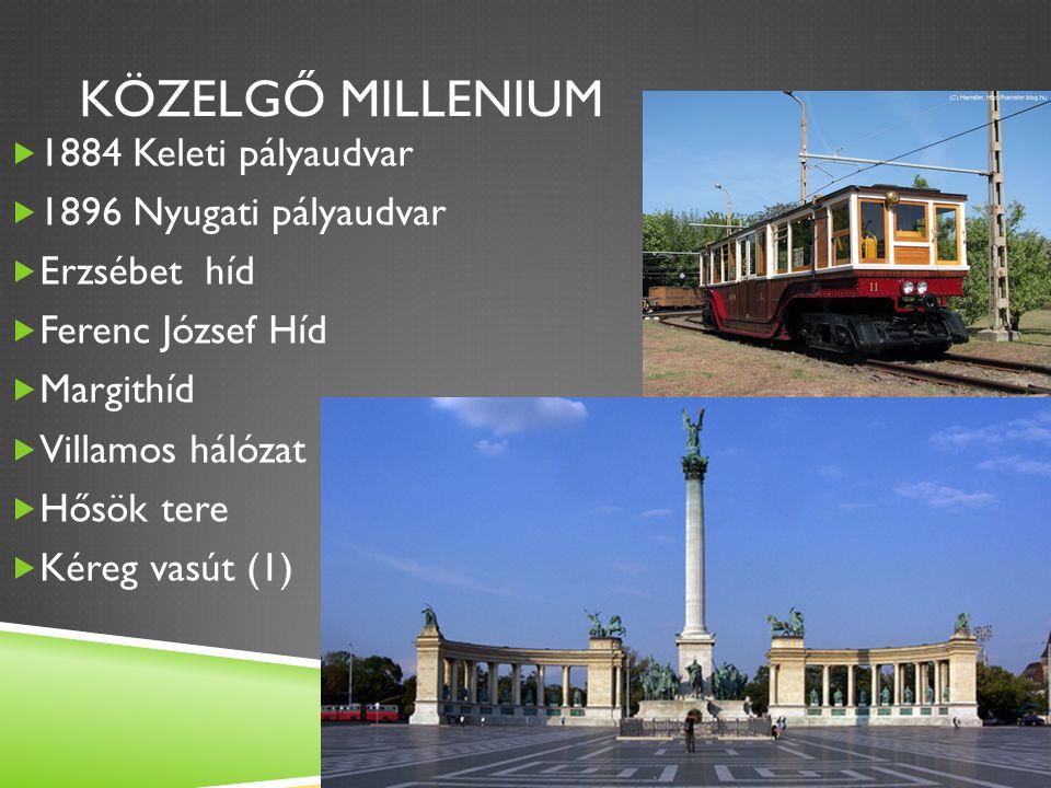 Közelgő millenium 1884 Keleti pályaudvar 1896 Nyugati pályaudvar
