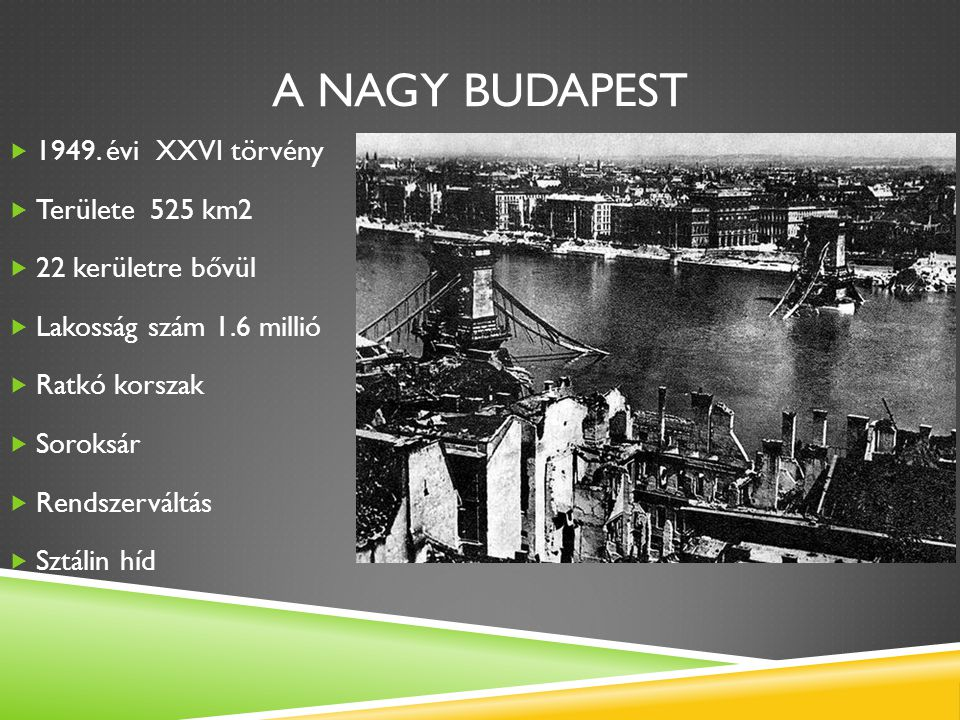 A nagy Budapest 1949. évi XXVI törvény Területe 525 km2