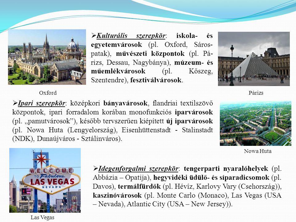 Kulturális szerepkör: iskola- és egyetemvárosok (pl