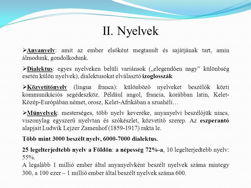 II. Nyelvek Anyanyelv: amit az ember elsőként megtanult és sajátjának tart, amin álmodunk, gondolkodunk.