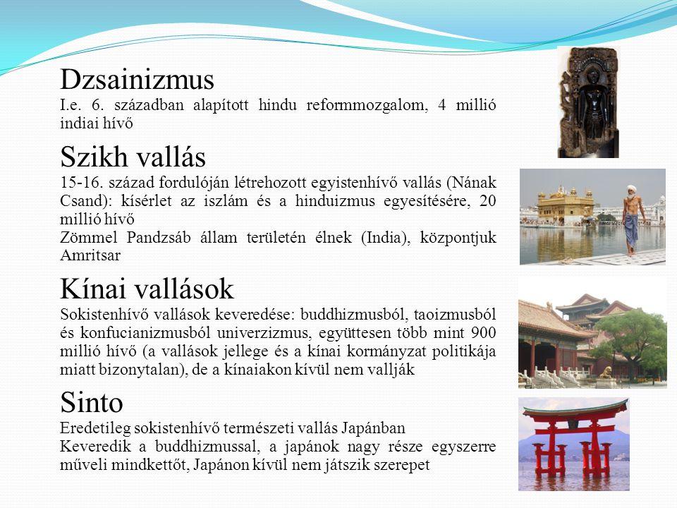 Dzsainizmus Szikh vallás Kínai vallások Sinto