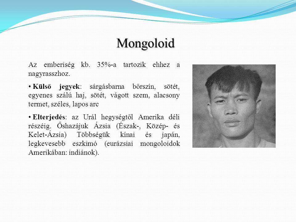 Mongoloid Az emberiség kb. 35%-a tartozik ehhez a nagyrasszhoz.