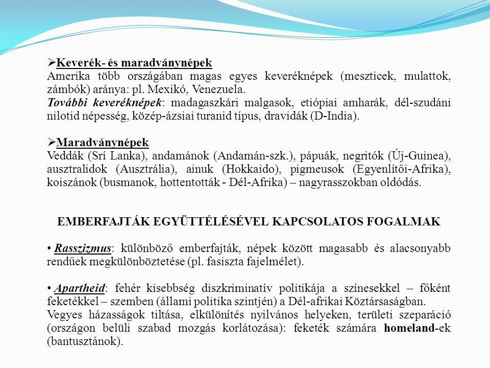 EMBERFAJTÁK EGYÜTTÉLÉSÉVEL KAPCSOLATOS FOGALMAK