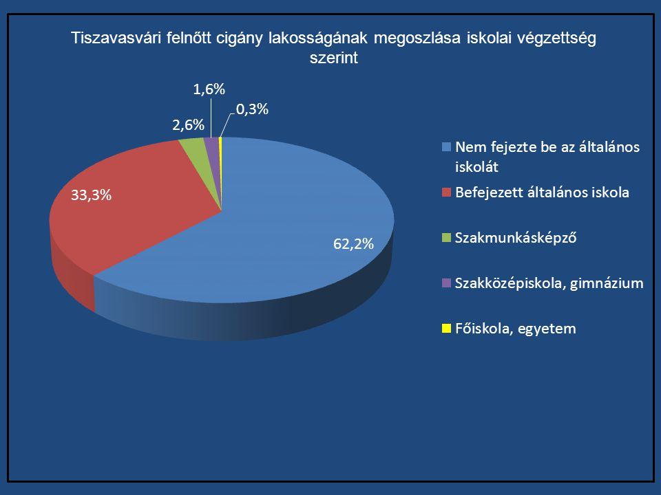 Tiszavasvári felnőtt cigány lakosságának megoszlása iskolai végzettség szerint