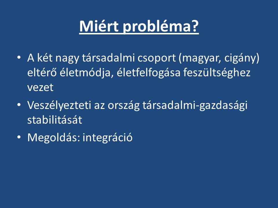 Miért probléma A két nagy társadalmi csoport (magyar, cigány) eltérő életmódja, életfelfogása feszültséghez vezet.