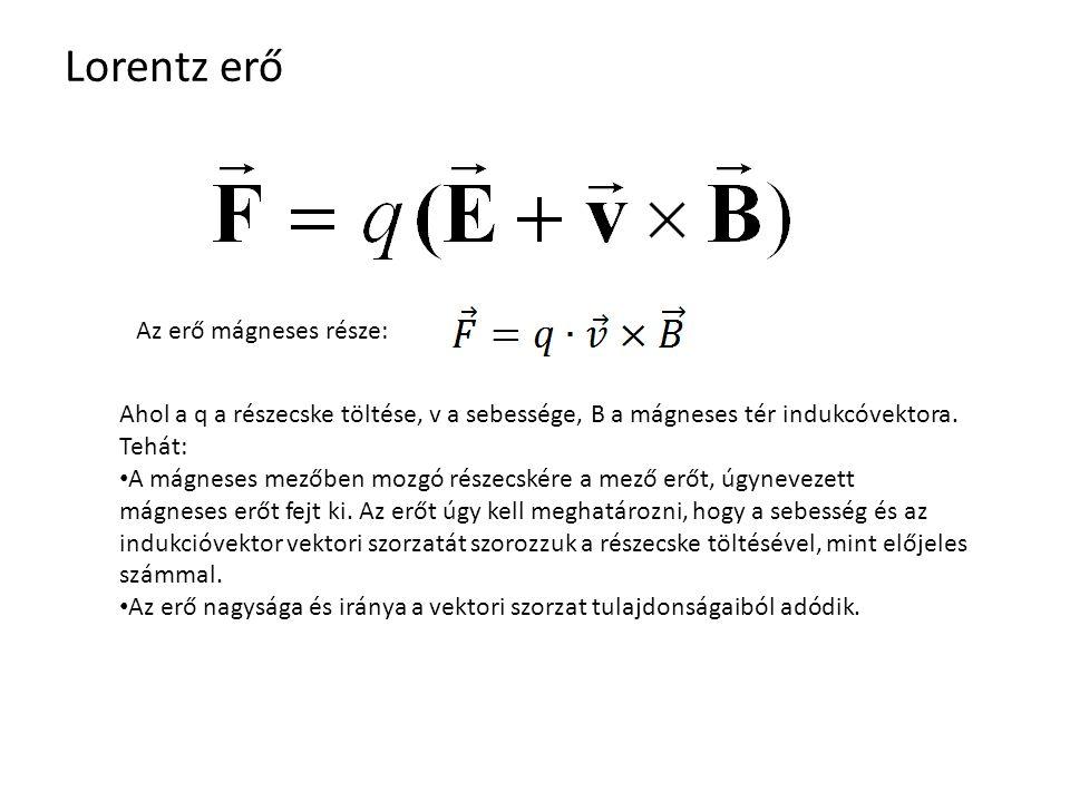 Lorentz erő Az erő mágneses része: