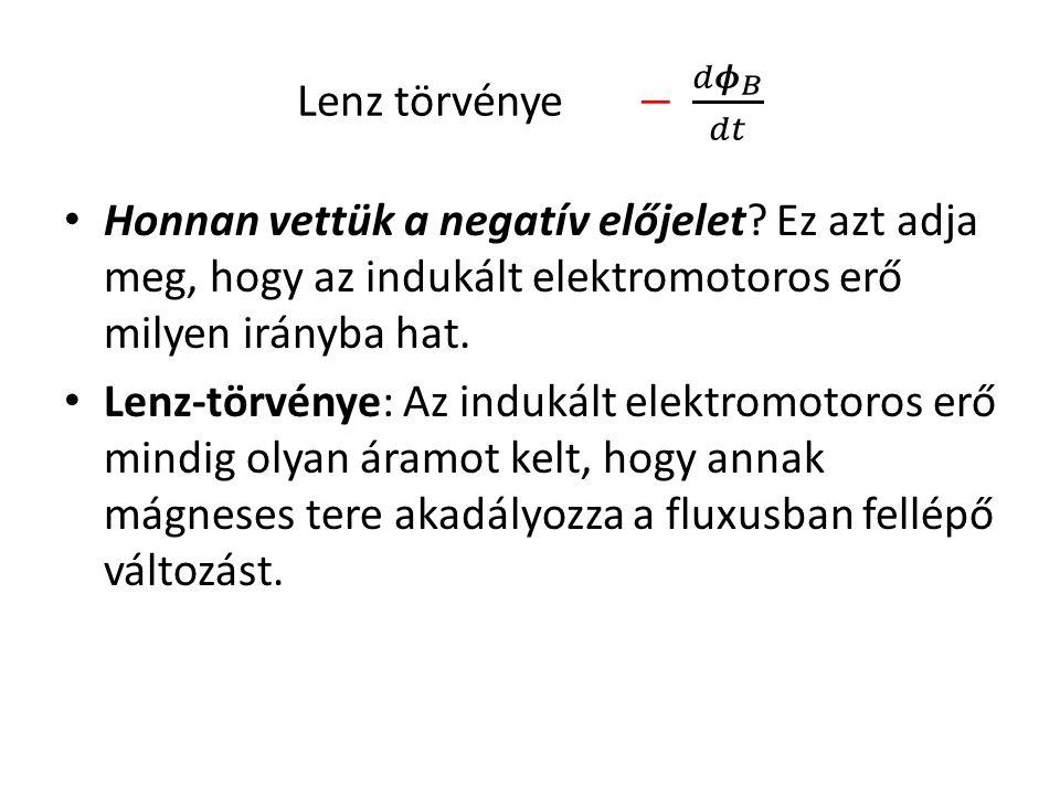 Lenz törvénye − 𝑑 𝝓 𝐵 𝑑𝑡 Honnan vettük a negatív előjelet Ez azt adja meg, hogy az indukált elektromotoros erő milyen irányba hat.