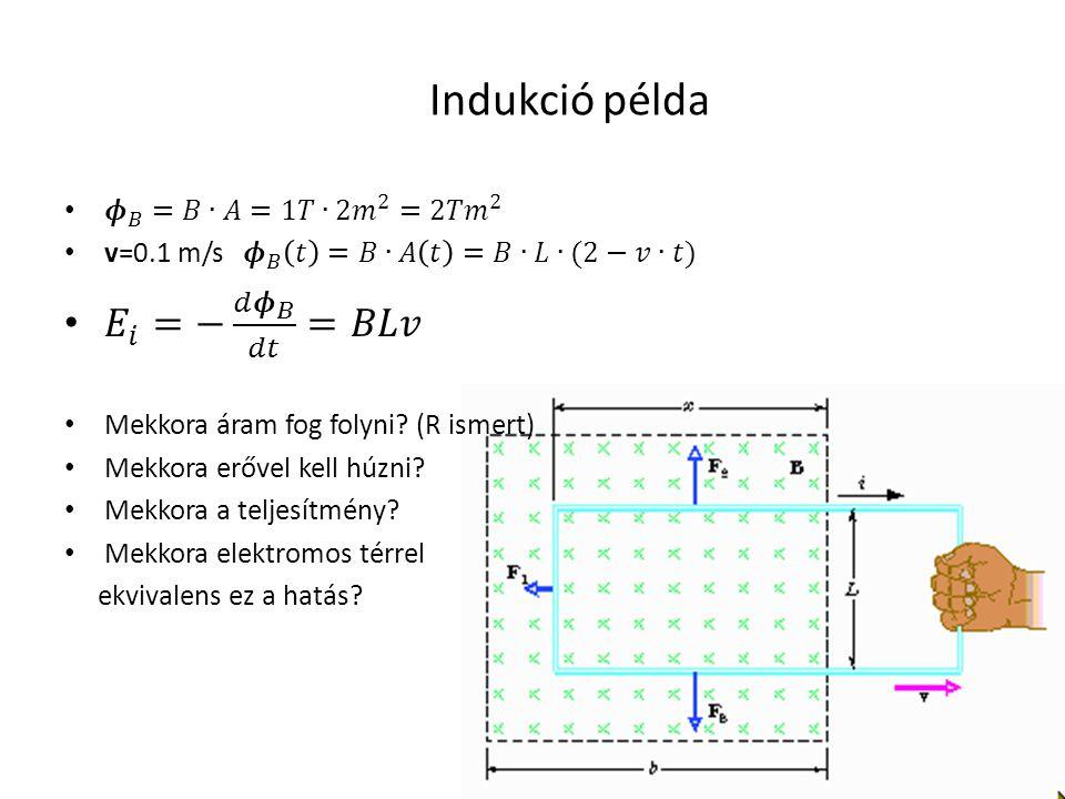Indukció példa 𝛦 𝑖 =− 𝑑 𝝓 𝐵 𝑑𝑡 =𝐵𝐿𝑣 𝝓 𝐵 =𝐵∙𝐴=1𝑇∙2 𝑚 2 =2𝑇 𝑚 2