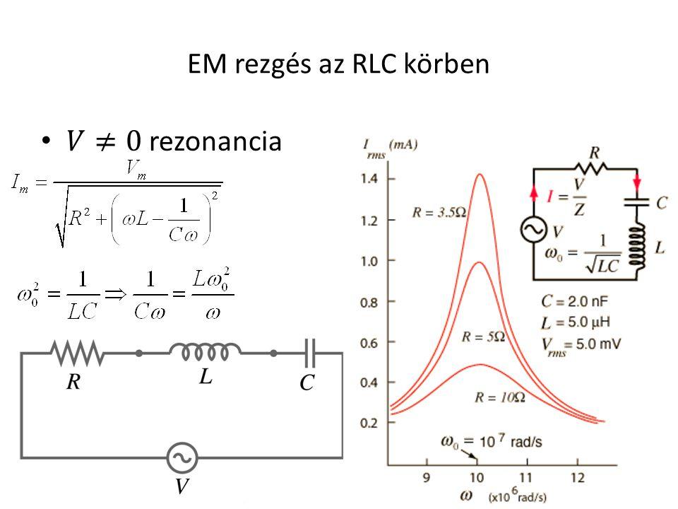 EM rezgés az RLC körben 𝑉≠0 rezonancia