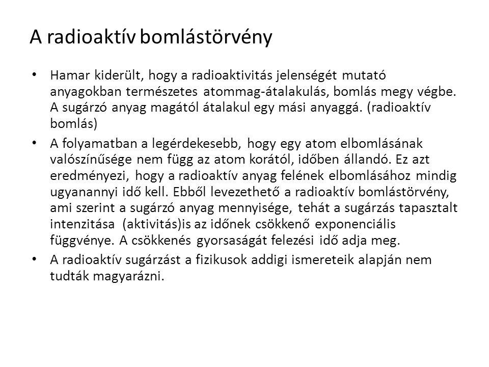 A radioaktív bomlástörvény