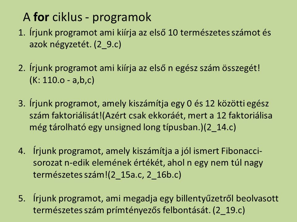 A for ciklus - programok