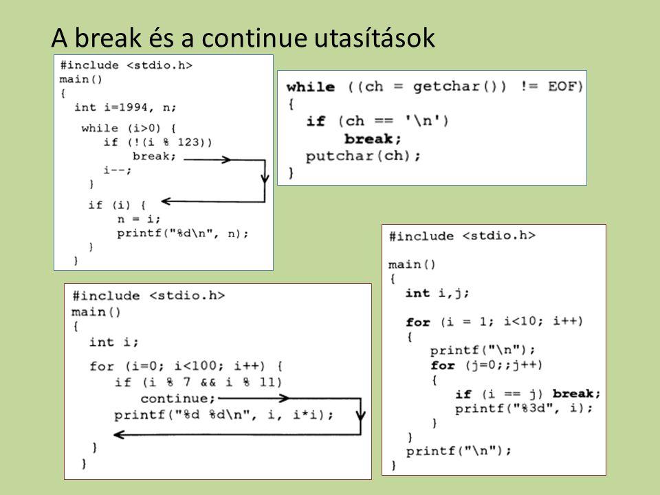 A break és a continue utasítások