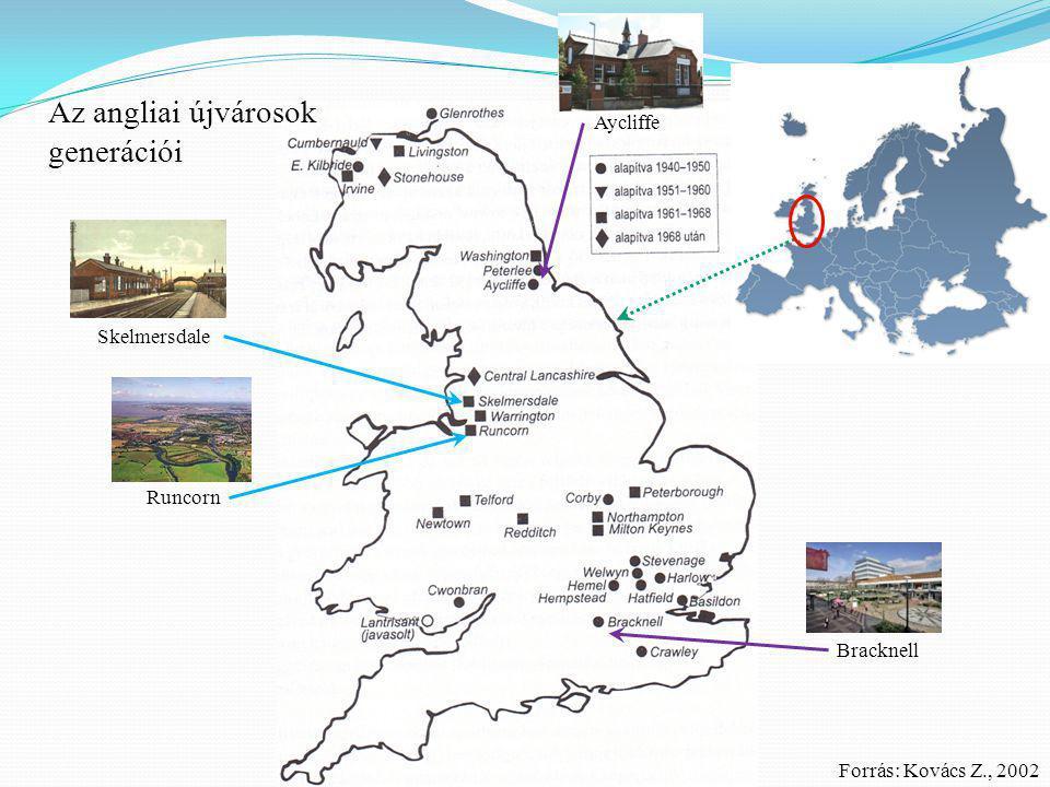 Az angliai újvárosok generációi Aycliffe Skelmersdale Runcorn