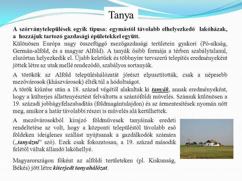 Tanya A szórványtelepülések egyik típusa: egymástól távolabb elhelyezkedő lakóházak, a hozzájuk tartozó gazdasági épületekkel együtt.