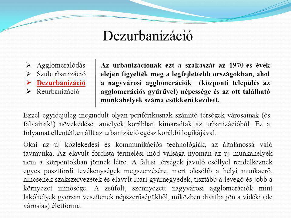 Dezurbanizáció Agglomerálódás Szuburbanizáció Dezurbanizáció