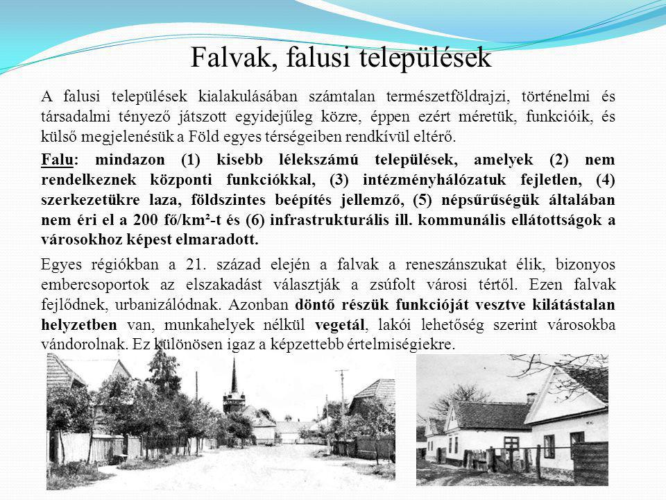 Falvak, falusi települések