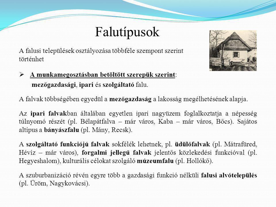 Falutípusok A falusi települések osztályozása többféle szempont szerint történhet. A munkamegosztásban betöltött szerepük szerint: