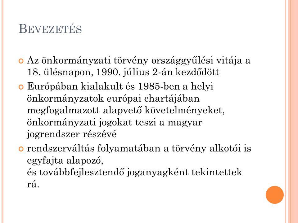 Bevezetés Az önkormányzati törvény országgyűlési vitája a 18. ülésnapon, 1990. július 2-án kezdődött.