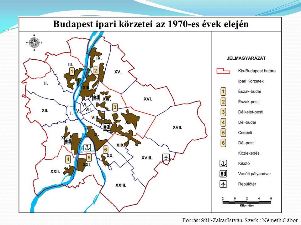 Budapest ipari körzetei az 1970-es évek elején