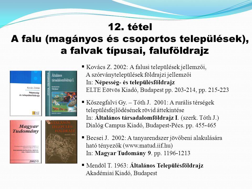 12. tétel A falu (magányos és csoportos települések), a falvak típusai, faluföldrajz. Kovács Z. 2002: A falusi települések jellemzői,