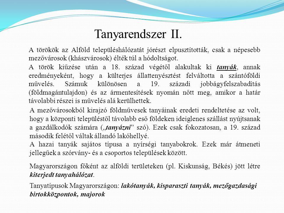 Tanyarendszer II. A törökök az Alföld településhálózatát jórészt elpusztították, csak a népesebb mezővárosok (khászvárosok) élték túl a hódoltságot.