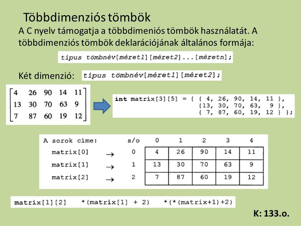 Többdimenziós tömbök A C nyelv támogatja a többdimeniós tömbök használatát. A többdimenziós tömbök deklarációjának általános formája: