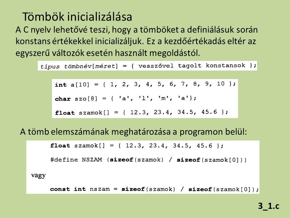 Tömbök inicializálása