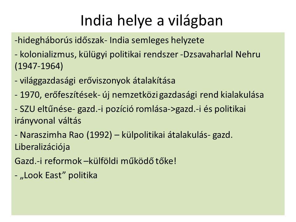 India helye a világban hidegháborús időszak- India semleges helyzete