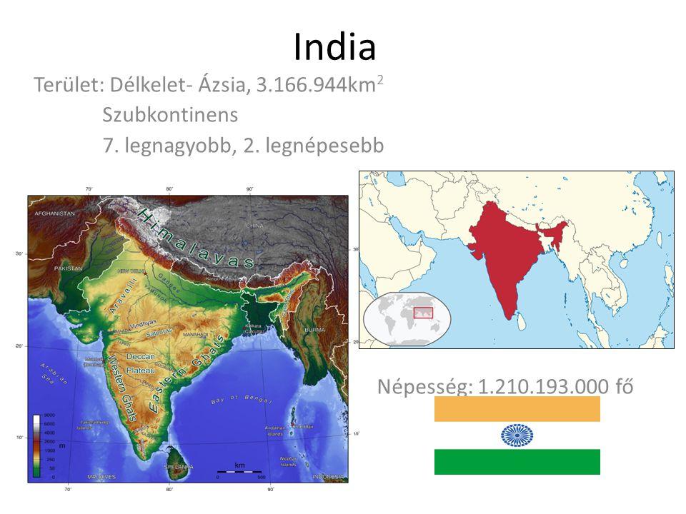 India Terület: Délkelet- Ázsia, 3.166.944km2 Szubkontinens